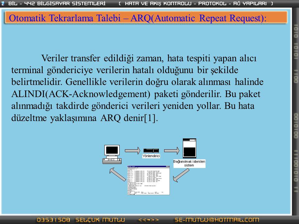 Otomatik Tekrarlama Talebi – ARQ(Automatic Repeat Request): Veriler transfer edildiği zaman, hata tespiti yapan alıcı terminal göndericiye verilerin h