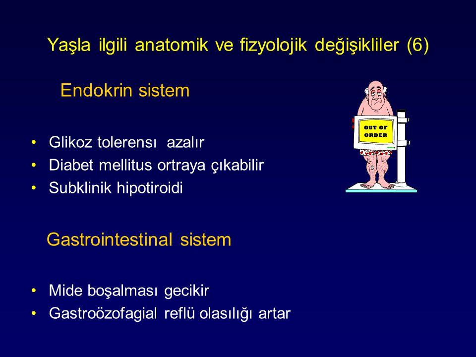Yaşla ilgili anatomik ve fizyolojik değişikliler (6) Endokrin sistem Glikoz tolerensı azalır Diabet mellitus ortraya çıkabilir Subklinik hipotiroidi G