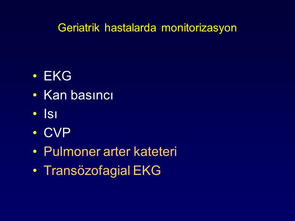 Geriatrik hastalarda monitorizasyon EKG Kan basıncı Isı CVP Pulmoner arter kateteri Transözofagial EKG
