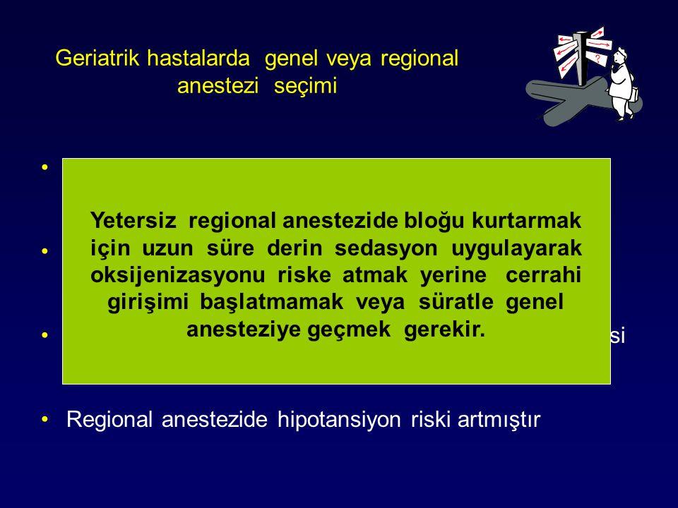 Geriatrik hastalarda genel veya regional anestezi seçimi Regional anestezi stresten arınmış ve preemptif anestezi sağlar Regional anestezide erken dön