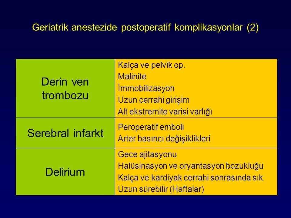 Geriatrik anestezide postoperatif komplikasyonlar (2) Derin ven trombozu Kalça ve pelvik op. Malinite İmmobilizasyon Uzun cerrahi girişim Alt ekstremi
