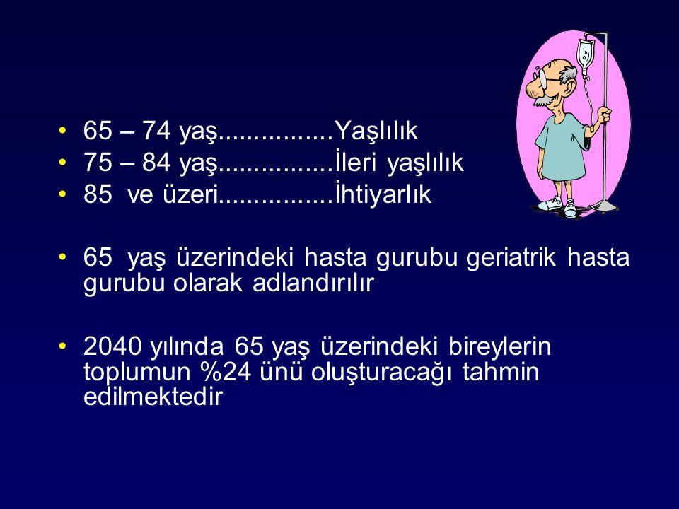 65 – 74 yaş................Yaşlılık 75 – 84 yaş................İleri yaşlılık 85 ve üzeri................İhtiyarlık 65 yaş üzerindeki hasta gurubu ger
