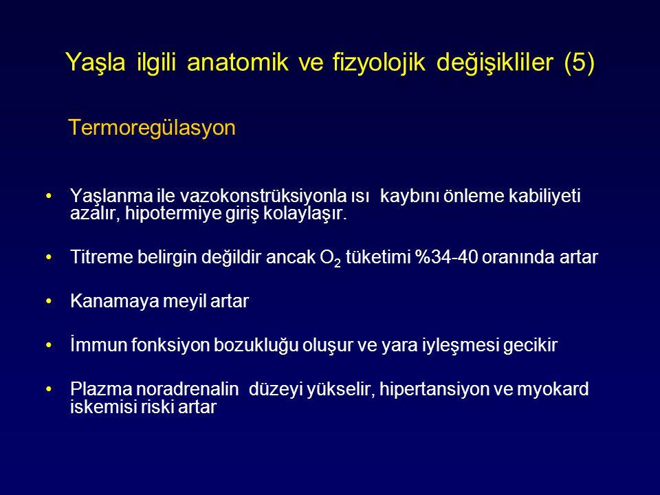 Yaşla ilgili anatomik ve fizyolojik değişikliler (5) Termoregülasyon Yaşlanma ile vazokonstrüksiyonla ısı kaybını önleme kabiliyeti azalır, hipotermiy