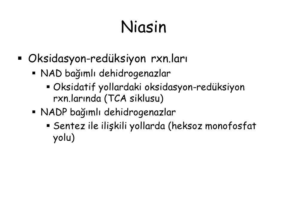 Niasin  Oksidasyon-redüksiyon rxn.ları  NAD bağımlı dehidrogenazlar  Oksidatif yollardaki oksidasyon-redüksiyon rxn.larında (TCA siklusu)  NADP ba