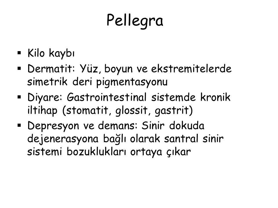 Pellegra  Kilo kaybı  Dermatit: Yüz, boyun ve ekstremitelerde simetrik deri pigmentasyonu  Diyare: Gastrointestinal sistemde kronik iltihap (stomat