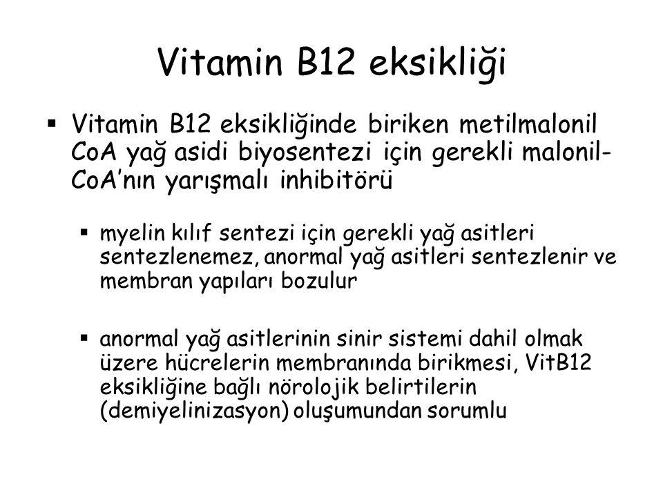  Vitamin B12 eksikliğinde biriken metilmalonil CoA yağ asidi biyosentezi için gerekli malonil- CoA'nın yarışmalı inhibitörü  myelin kılıf sentezi iç