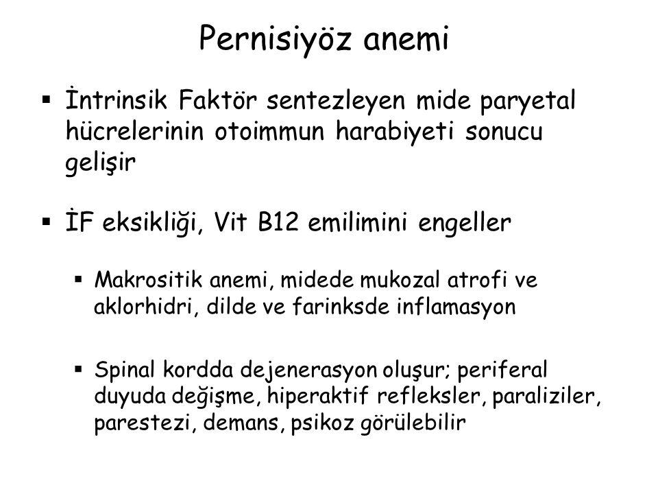Pernisiyöz anemi  İntrinsik Faktör sentezleyen mide paryetal hücrelerinin otoimmun harabiyeti sonucu gelişir  İF eksikliği, Vit B12 emilimini engell