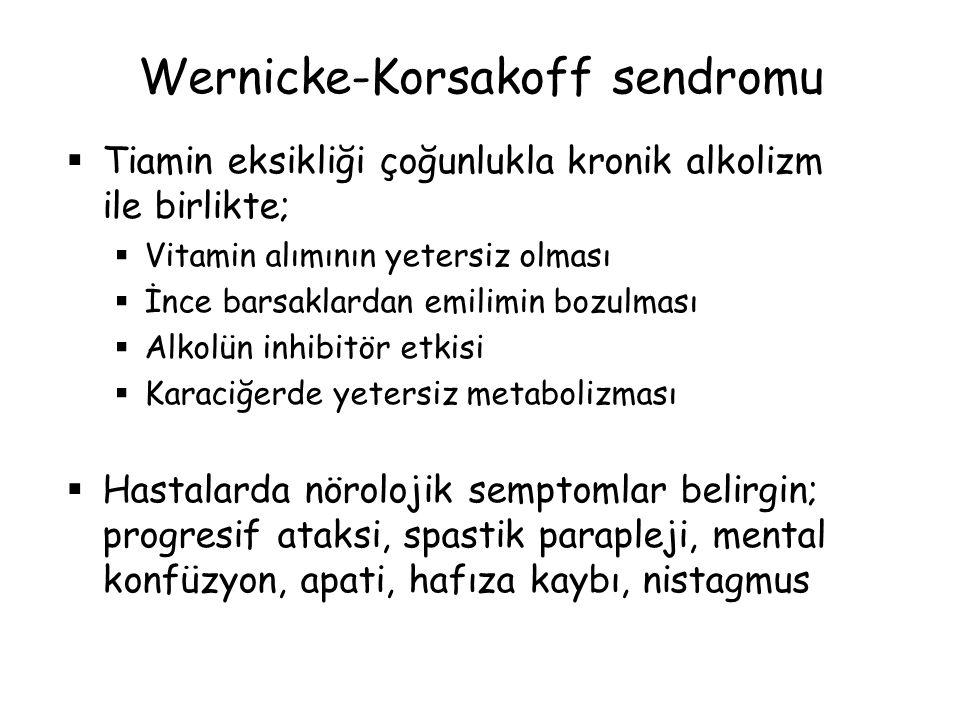 Wernicke-Korsakoff sendromu  Tiamin eksikliği çoğunlukla kronik alkolizm ile birlikte;  Vitamin alımının yetersiz olması  İnce barsaklardan emilimi
