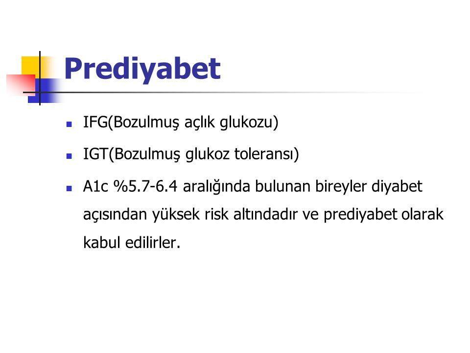 Prediyabet IFG(Bozulmuş açlık glukozu) IGT(Bozulmuş glukoz toleransı) A1c %5.7-6.4 aralığında bulunan bireyler diyabet açısından yüksek risk altındadır ve prediyabet olarak kabul edilirler.
