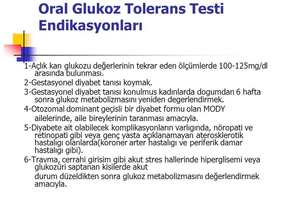 Oral Glukoz Tolerans Testi Endikasyonları 1-Açlık kan glukozu değerlerinin tekrar eden ölçümlerde 100-125mg/dl arasında bulunması.