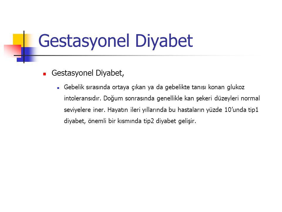 Gestasyonel Diyabet Gestasyonel Diyabet, Gebelik sırasında ortaya çıkan ya da gebelikte tanısı konan glukoz intoleransıdır. Doğum sonrasında genellikl