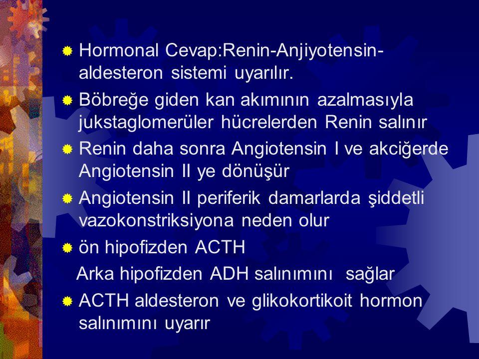  Hormonal Cevap:Renin-Anjiyotensin- aldesteron sistemi uyarılır.  Böbreğe giden kan akımının azalmasıyla jukstaglomerüler hücrelerden Renin salınır