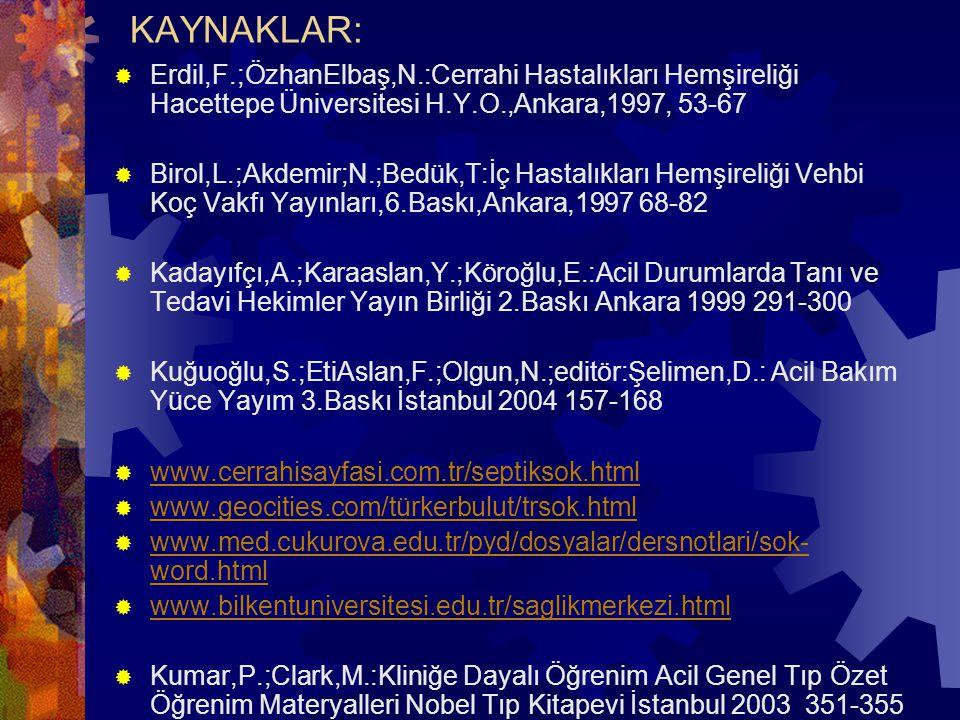 KAYNAKLAR:  Erdil,F.;ÖzhanElbaş,N.:Cerrahi Hastalıkları Hemşireliği Hacettepe Üniversitesi H.Y.O.,Ankara,1997, 53-67  Birol,L.;Akdemir;N.;Bedük,T:İç