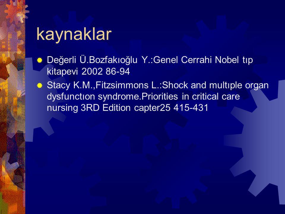 kaynaklar  Değerli Ü.Bozfakıoğlu Y.:Genel Cerrahi Nobel tıp kitapevi 2002 86-94  Stacy K.M.,Fitzsimmons L.:Shock and multıple organ dysfunctıon synd