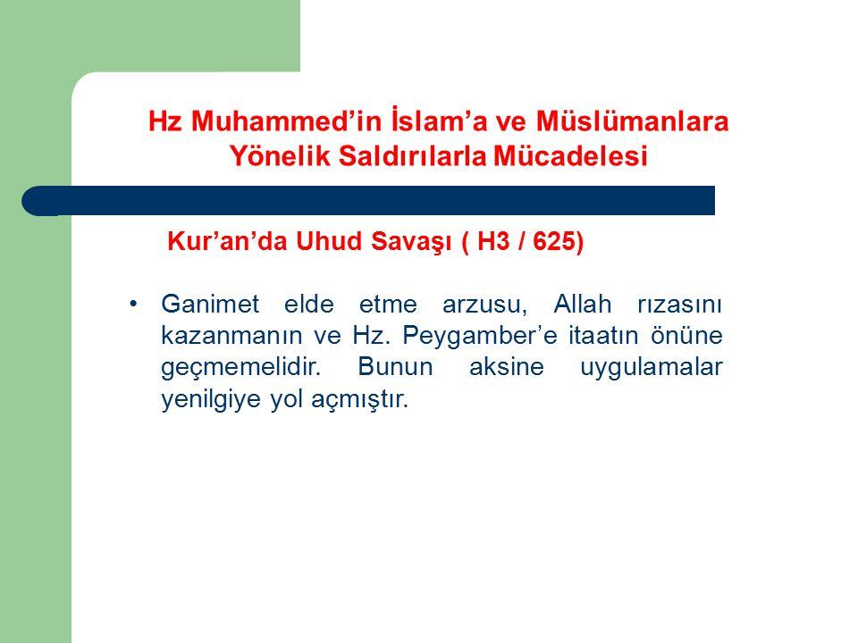 Kur'an'da Uhud Savaşı ( H3 / 625) Ganimet elde etme arzusu, Allah rızasını kazanmanın ve Hz. Peygamber'e itaatın önüne geçmemelidir. Bunun aksine uygu