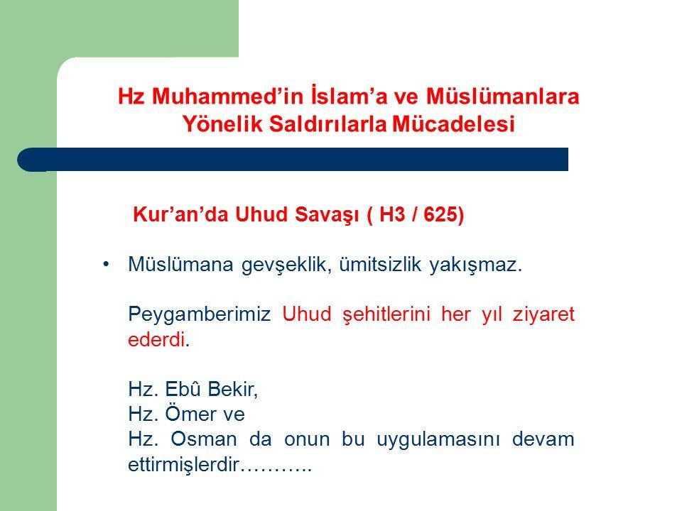 Kur'an'da Uhud Savaşı ( H3 / 625) Müslümana gevşeklik, ümitsizlik yakışmaz. Peygamberimiz Uhud şehitlerini her yıl ziyaret ederdi. Hz. Ebû Bekir, Hz.