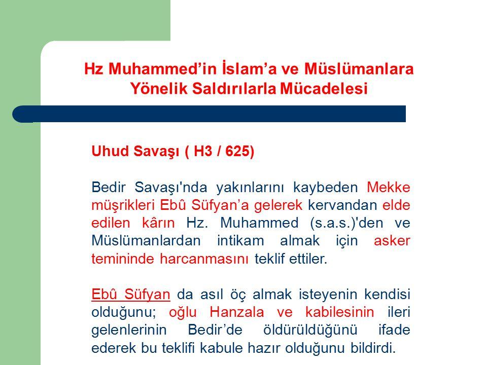 Hz Muhammed'in İslam'a ve Müslümanlara Yönelik Saldırılarla Mücadelesi Uhud Savaşı ( H3 / 625) Bedir Savaşı'nda yakınlarını kaybeden Mekke müşrikleri