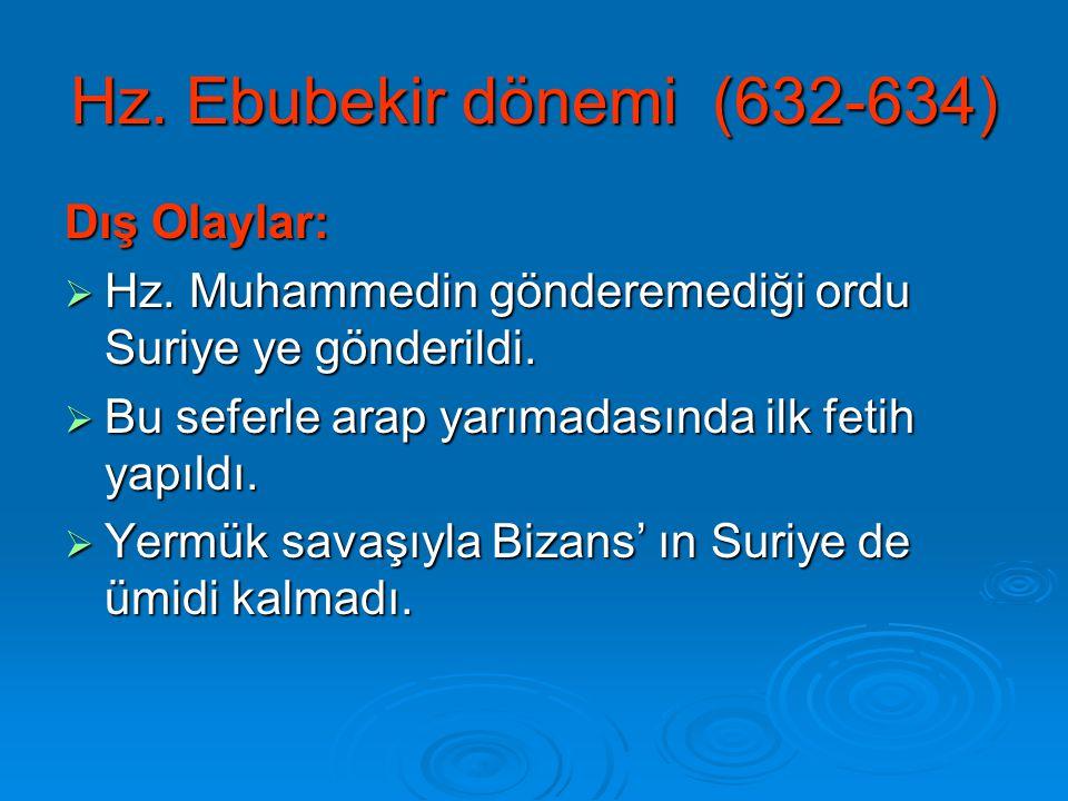 Hz. Ebubekir dönemi (632-634) Dış Olaylar:  Hz. Muhammedin gönderemediği ordu Suriye ye gönderildi.  Bu seferle arap yarımadasında ilk fetih yapıldı