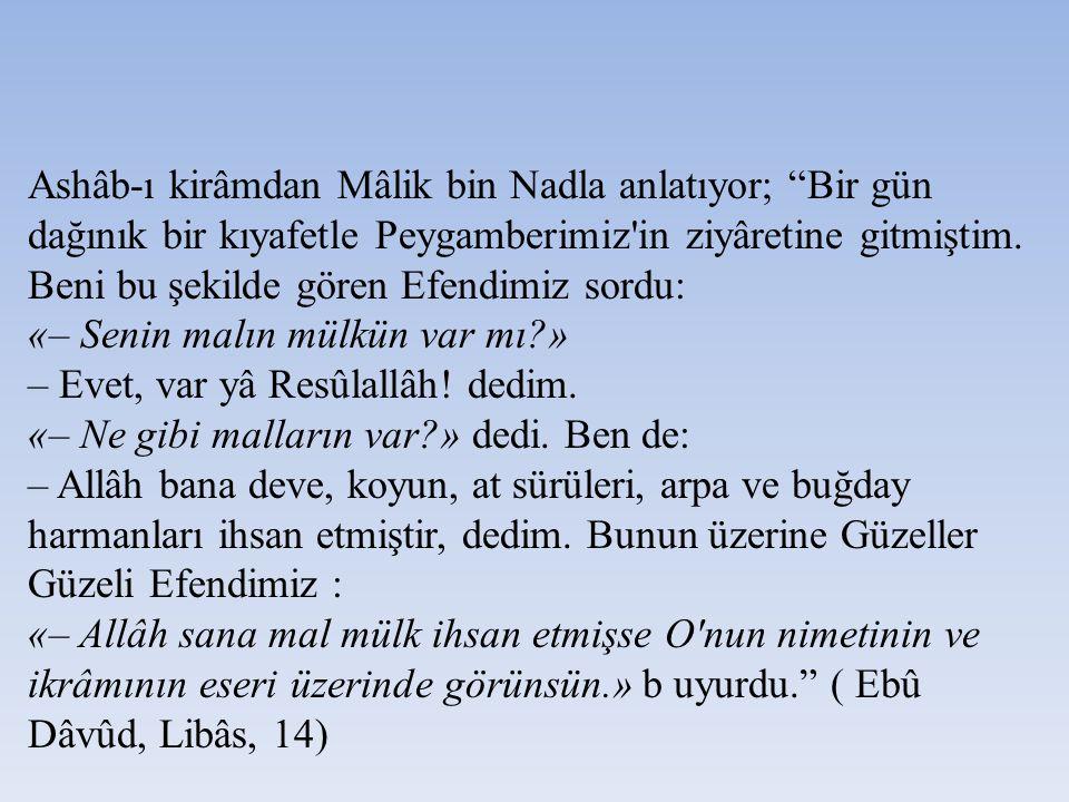 """Ashâb-ı kirâmdan Mâlik bin Nadla anlatıyor; """"Bir gün dağınık bir kıyafetle Peygamberimiz'in ziyâretine gitmiştim. Beni bu şekilde gören Efendimiz sord"""