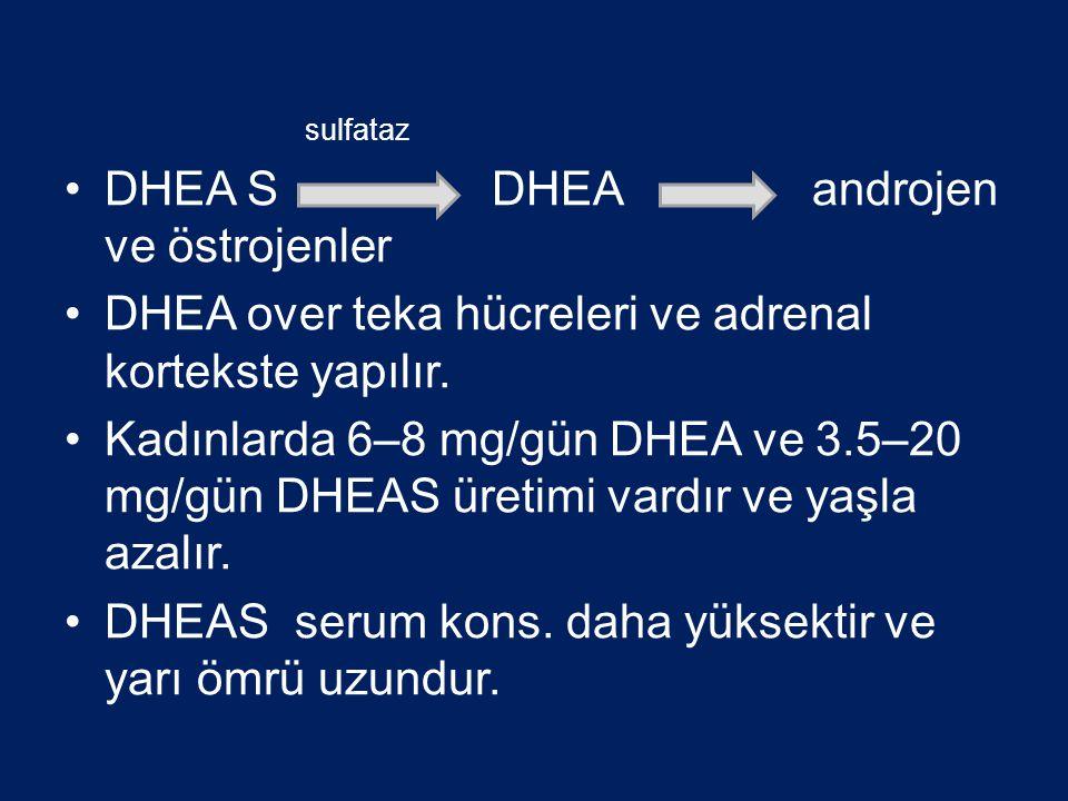 sulfataz DHEA S DHEAandrojen ve östrojenler DHEA over teka hücreleri ve adrenal kortekste yapılır. Kadınlarda 6–8 mg/gün DHEA ve 3.5–20 mg/gün DHEAS ü