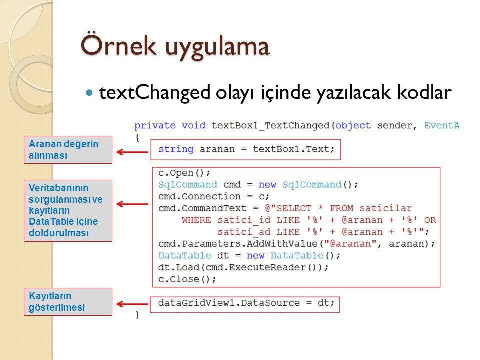 textChanged olayı içinde yazılacak kodlar Aranan değerin alınması Veritabanının sorgulanması ve kayıtların DataTable içine doldurulması Kayıtların gös