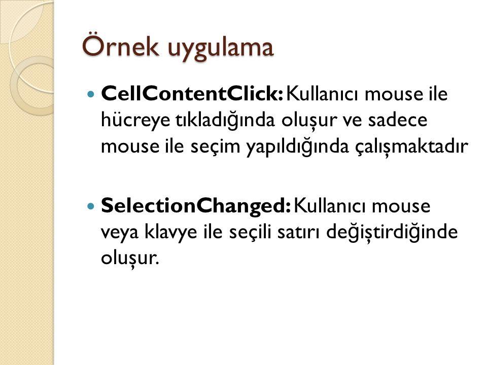 Örnek uygulama CellContentClick: Kullanıcı mouse ile hücreye tıkladı ğ ında oluşur ve sadece mouse ile seçim yapıldı ğ ında çalışmaktadır SelectionCha