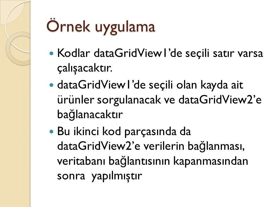 Örnek uygulama Kodlar dataGridView1'de seçili satır varsa çalışacaktır. dataGridView1'de seçili olan kayda ait ürünler sorgulanacak ve dataGridView2'e