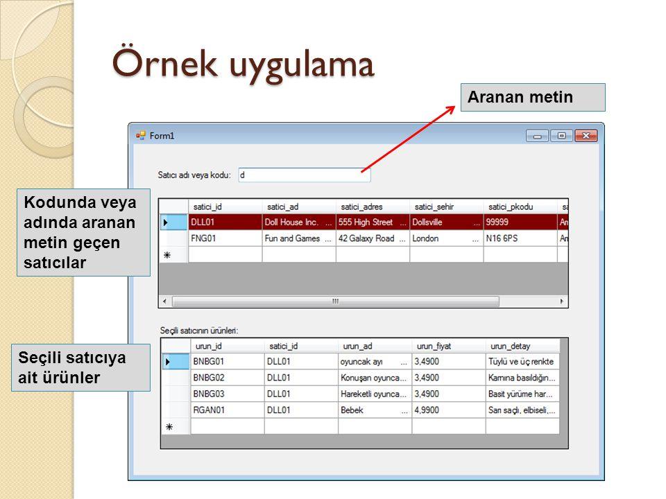 Örnek uygulama Aranan metin Kodunda veya adında aranan metin geçen satıcılar Seçili satıcıya ait ürünler