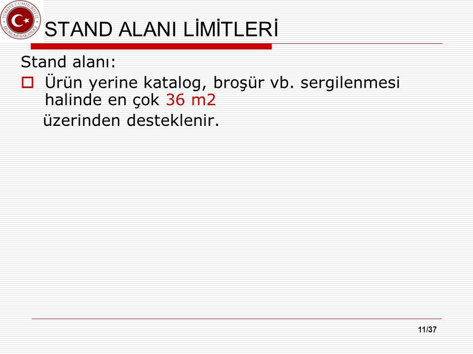 11/37 STAND ALANI LİMİTLERİ Stand alanı:  Ürün yerine katalog, broşür vb.