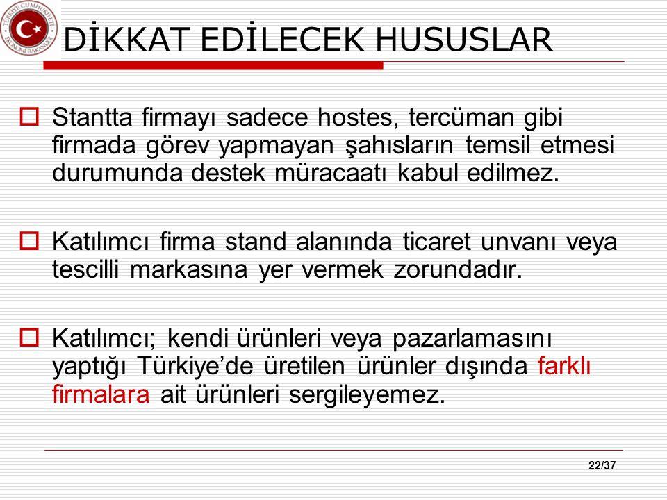 22/37 DİKKAT EDİLECEK HUSUSLAR  Stantta firmayı sadece hostes, tercüman gibi firmada görev yapmayan şahısların temsil etmesi durumunda destek müracaatı kabul edilmez.