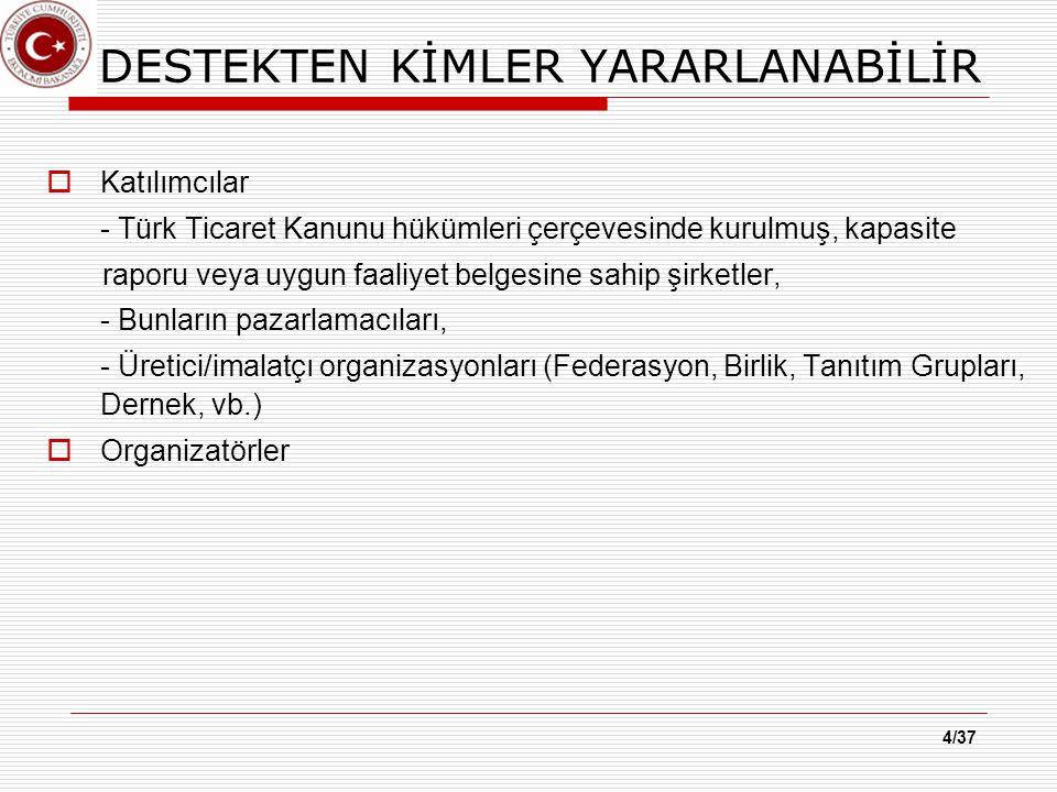 4/37 DESTEKTEN KİMLER YARARLANABİLİR  Katılımcılar - Türk Ticaret Kanunu hükümleri çerçevesinde kurulmuş, kapasite raporu veya uygun faaliyet belgesine sahip şirketler, - Bunların pazarlamacıları, - Üretici/imalatçı organizasyonları (Federasyon, Birlik, Tanıtım Grupları, Dernek, vb.)  Organizatörler