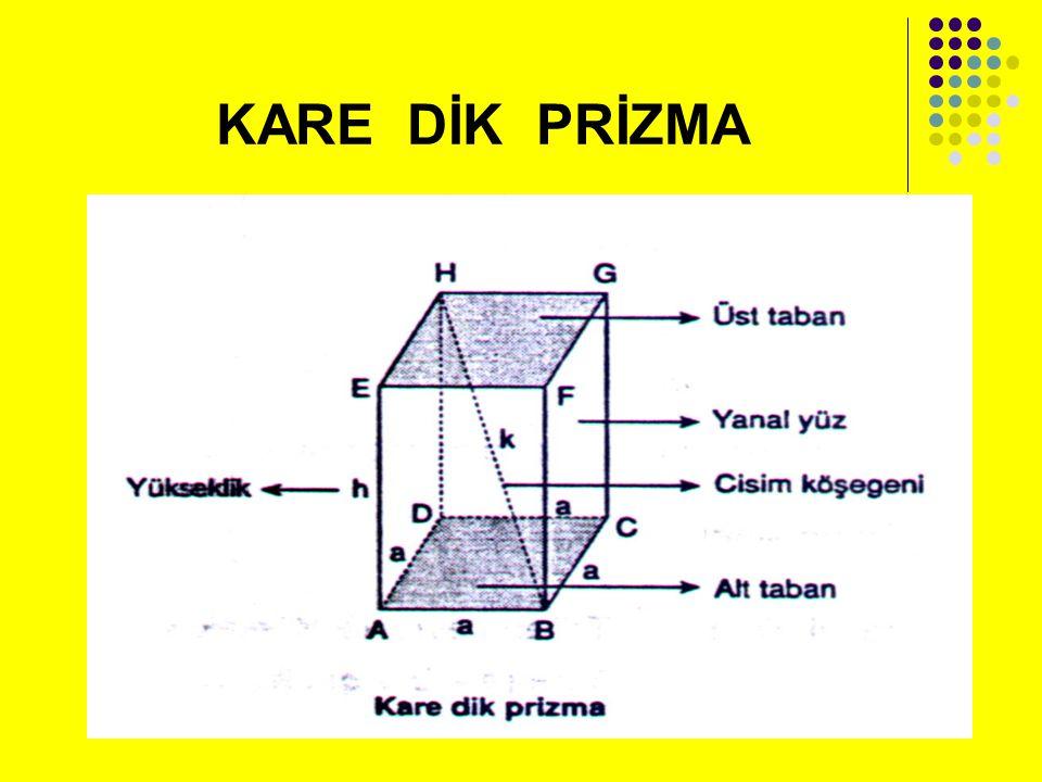 Örnek: Taban ayrıtının uzunluğu 5 cm ve yüksekliği 10 cm olan kare prizmanın hacmini bulunuz.