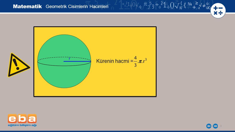 3 Geometrik Cisimlerin Hacimleri Kürenin hacmi = r
