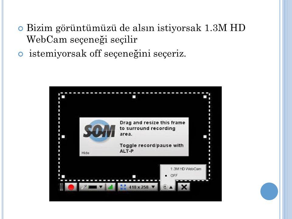 Bizim görüntümüzü de alsın istiyorsak 1.3M HD WebCam seçeneği seçilir istemiyorsak off seçeneğini seçeriz.