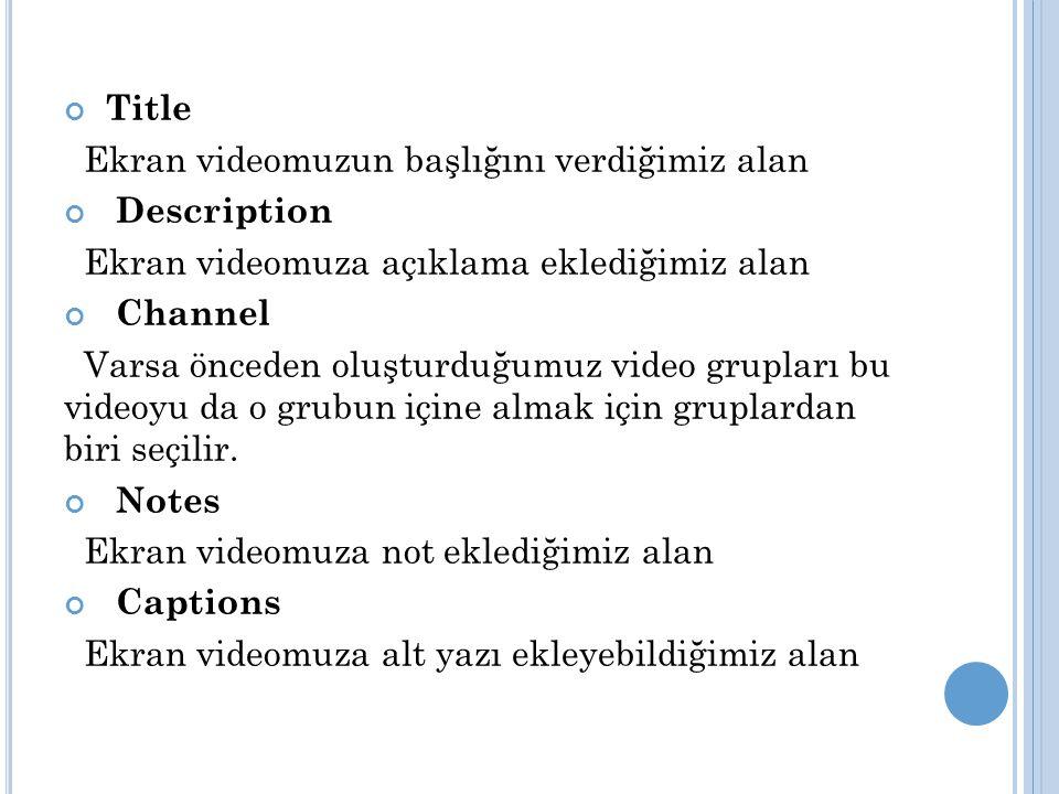 Title Ekran videomuzun başlığını verdiğimiz alan Description Ekran videomuza açıklama eklediğimiz alan Channel Varsa önceden oluşturduğumuz video grupları bu videoyu da o grubun içine almak için gruplardan biri seçilir.