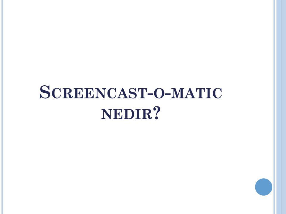 S CREENCAST - O - MATIC NEDIR