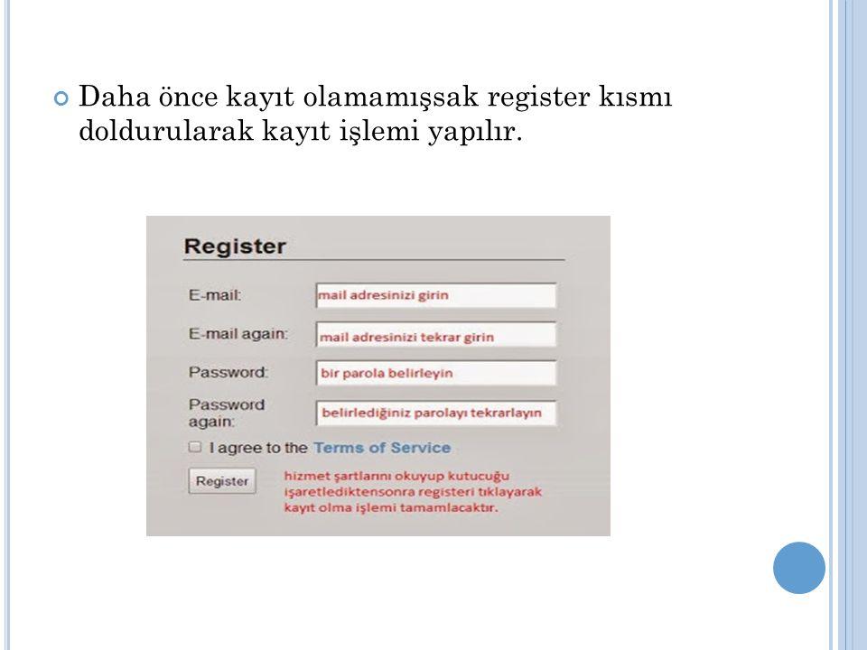 Daha önce kayıt olamamışsak register kısmı doldurularak kayıt işlemi yapılır.