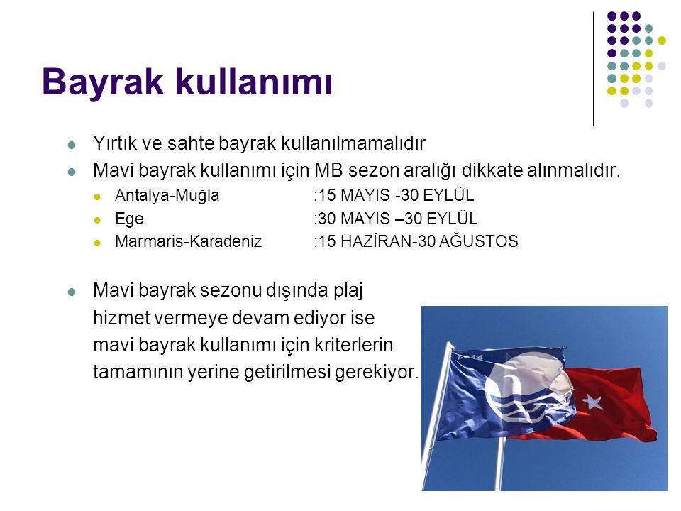 Bayrak kullanımı Yırtık ve sahte bayrak kullanılmamalıdır Mavi bayrak kullanımı için MB sezon aralığı dikkate alınmalıdır. Antalya-Muğla:15 MAYIS -30