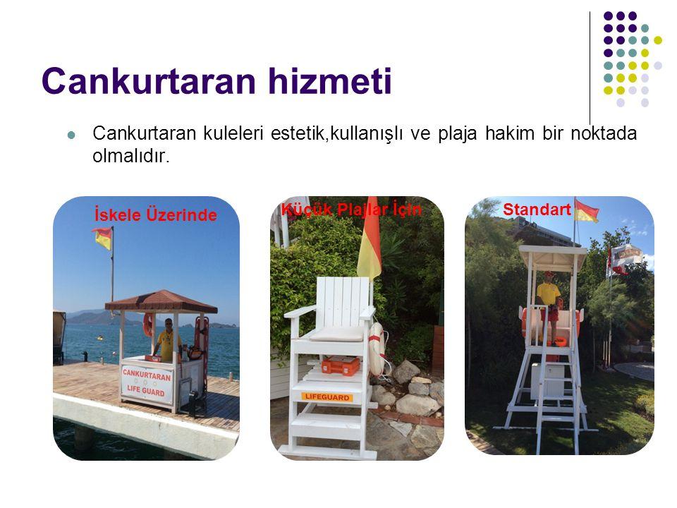 Cankurtaran hizmeti Cankurtaran kuleleri estetik,kullanışlı ve plaja hakim bir noktada olmalıdır. İskele Üzerinde Küçük Plajlar İçinStandart