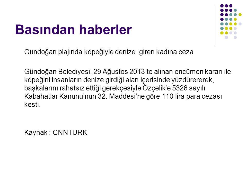 Basından haberler Gündoğan plajında köpeğiyle denize giren kadına ceza Gündoğan Belediyesi, 29 Ağustos 2013 te alınan encümen kararı ile köpeğini insa
