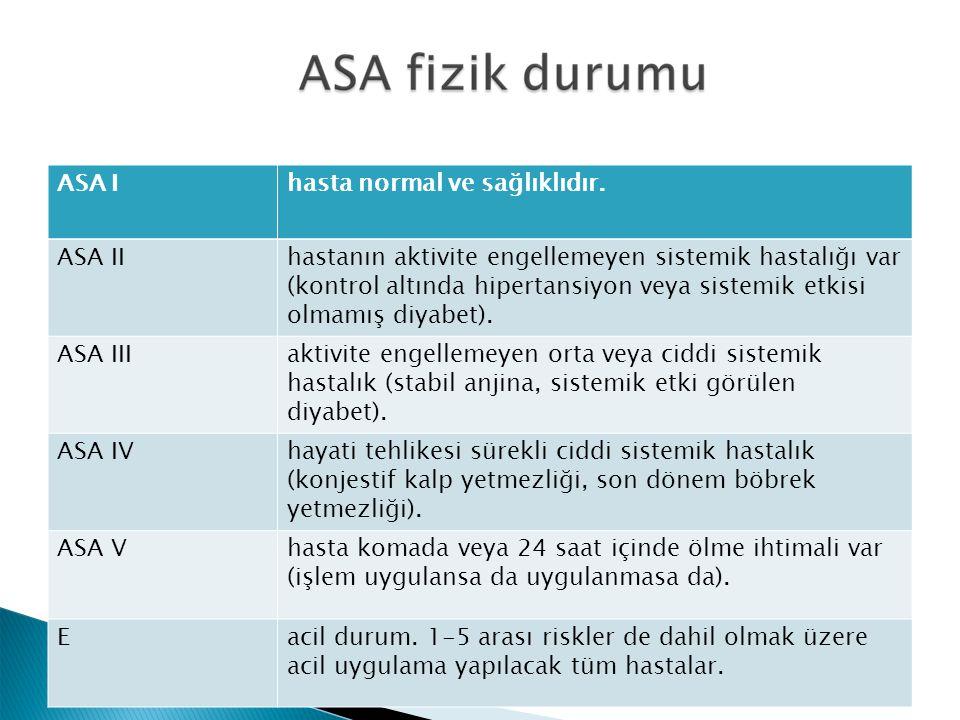 ASA Ihasta normal ve sağlıklıdır. ASA IIhastanın aktivite engellemeyen sistemik hastalığı var (kontrol altında hipertansiyon veya sistemik etkisi olma