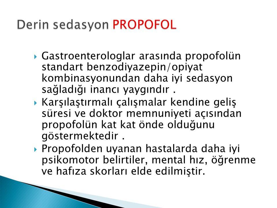  Gastroenterologlar arasında propofolün standart benzodiyazepin/opiyat kombinasyonundan daha iyi sedasyon sağladığı inancı yaygındır.  Karşılaştırma