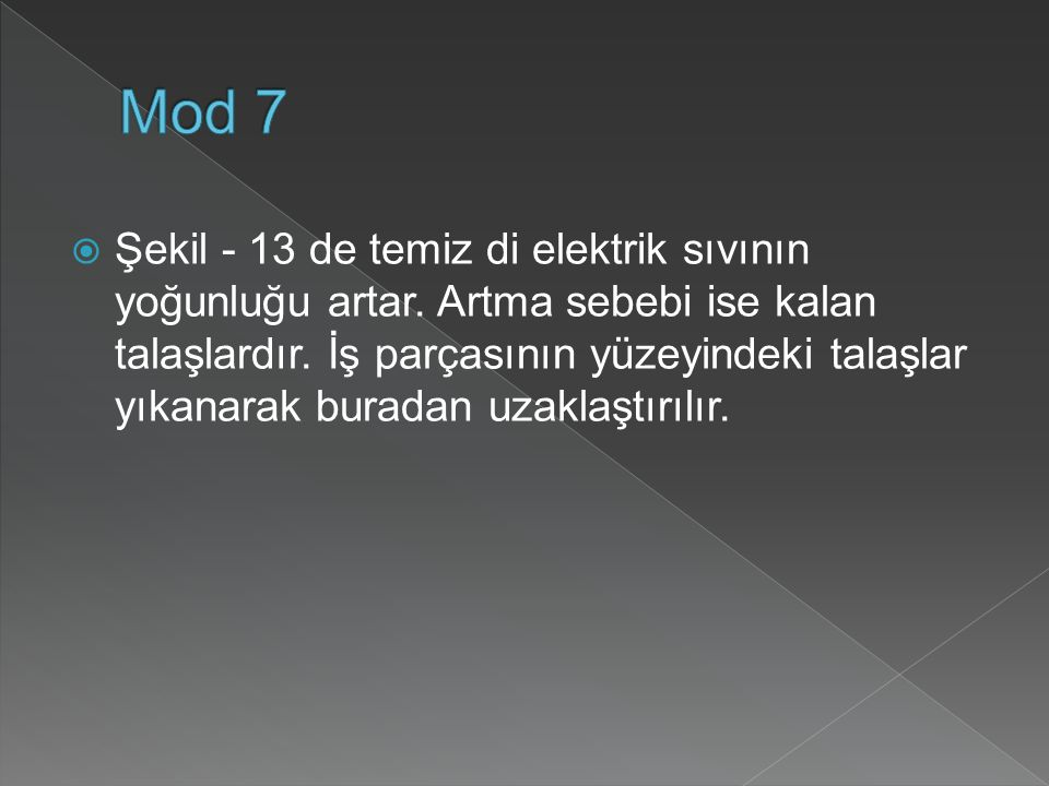  Şekil - 13 de temiz di elektrik sıvının yoğunluğu artar.