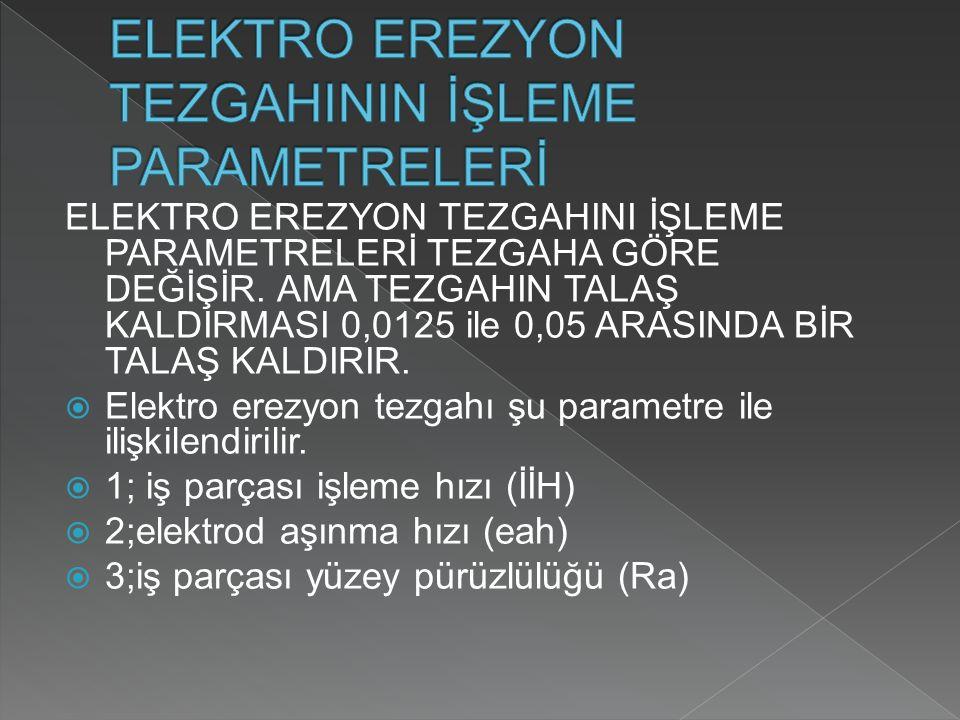 ELEKTRO EREZYON TEZGAHINI İŞLEME PARAMETRELERİ TEZGAHA GÖRE DEĞİŞİR.