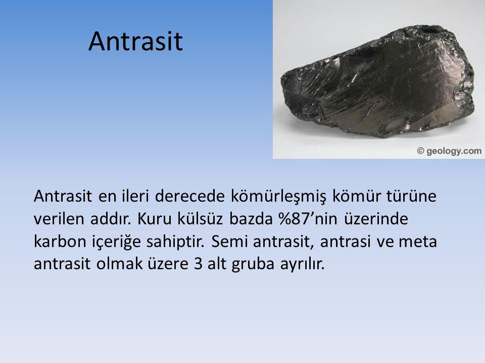 Antrasit Antrasit en ileri derecede kömürleşmiş kömür türüne verilen addır. Kuru külsüz bazda %87'nin üzerinde karbon içeriğe sahiptir. Semi antrasit,