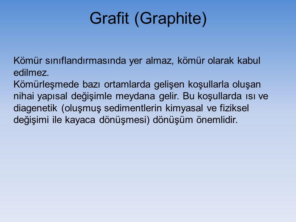 Grafit (Graphite) Kömür sınıflandırmasında yer almaz, kömür olarak kabul edilmez. Kömürleşmede bazı ortamlarda gelişen koşullarla oluşan nihai yapısal