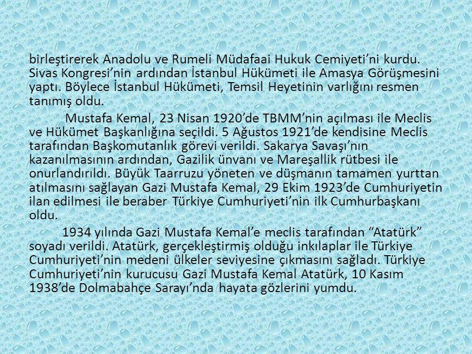 birleştirerek Anadolu ve Rumeli Müdafaai Hukuk Cemiyeti'ni kurdu.