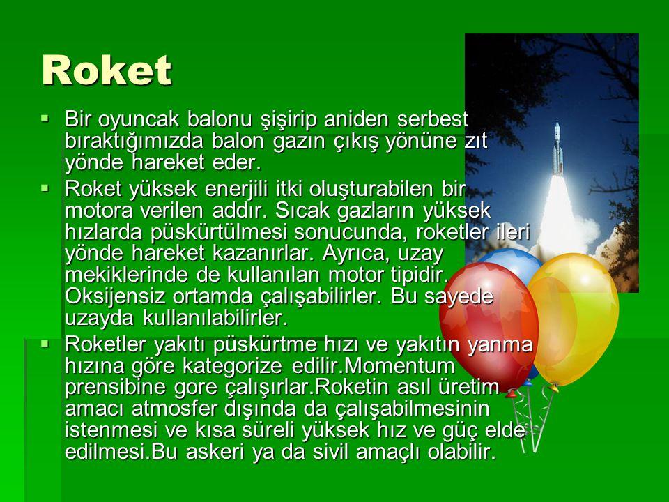 Roket  Bir oyuncak balonu şişirip aniden serbest bıraktığımızda balon gazın çıkış yönüne zıt yönde hareket eder.  Roket yüksek enerjili itki oluştur