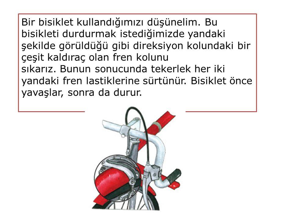 Bir bisiklet kullandığımızı düşünelim. Bu bisikleti durdurmak istediğimizde yandaki şekilde görüldüğü gibi direksiyon kolundaki bir çeşit kaldıraç ola