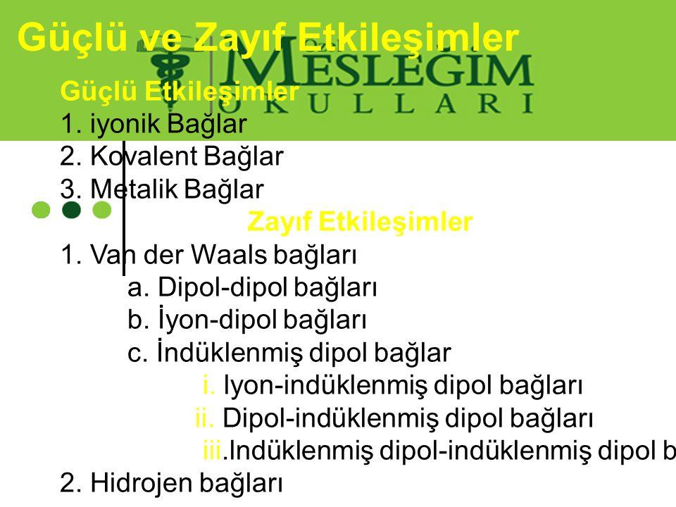 Güçlü ve Zayıf Etkileşimler Güçlü Etkileşimler 1. iyonik Bağlar 2. Kovalent Bağlar 3. Metalik Bağlar Zayıf Etkileşimler 1. Van der Waals bağları a. Di